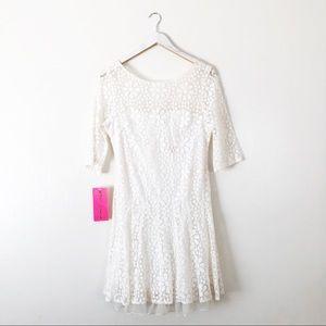 Vtg Betsey Johnson Dress White Lace Flowers
